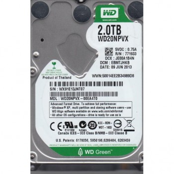 DYSK WD GREEN 2TB SATA 5.2K 8MB 6G 2,5 WD20NPVX