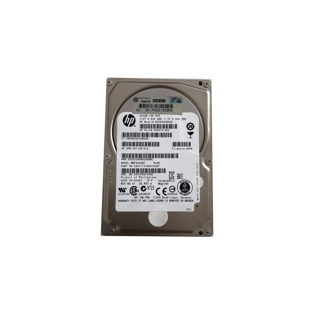 DYSK TWARDY HP 600GB SAS 10k 2.5 599476-003